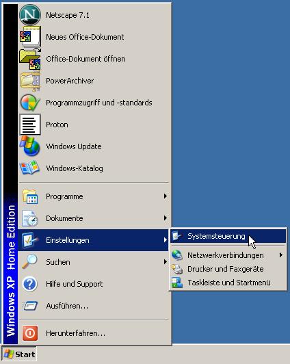 Fenster xp Haken bis zum Internet